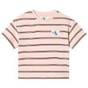 Calvin Klein Jeans Pink Stripe Logo Boxy Tee 4 years