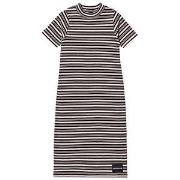 Calvin Klein Jeans Black and Pale Pink Stripe Maxi Dress 4 years