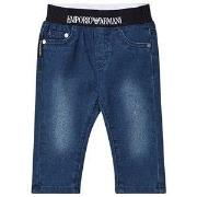 Emporio Armani Logo Pull Up Jeans Blue Denim 12 months