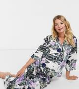 ASOS DESIGN Maternity tropical long sleeve shirt & trouser pyjama set ...