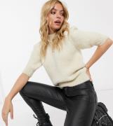 Vero Moda Petite short sleeve jumper in cream-White