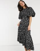Vero Moda maxi satin dress with puffball sleeves in black spot print-M...