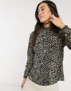 Vero Moda blouse with high neck in black animal print-Multi