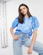 Vero Moda jacquard textured top with puff sleeves and ruffle details i...