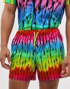 ASOS DESIGN co-ord slim shorter shorts in bright tie dye print-Red