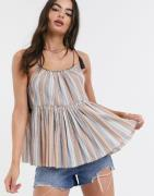 ASOS DESIGN tiered cami with stitch detail in stripe print-Multi